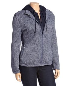 Yoki Navy Heather Zip-Up Hooded Fleece Jacket - Plus | zulily cute $19.99