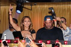 Jennifer Lopez celebrates her Birthday in the DJ booth with DJ Mel DeBarge at 1OAK Southampton on July 25, 2015 in Southampton City.