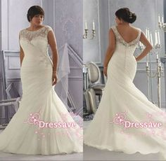 2015 Free Shiping Plus size custom made formal mermaid wedding dresses bateau cap sleeves applique lace pleated backless bridal gowns ML3163