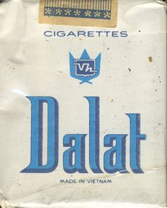 <b>Dalat Cigarettes Made Vietnam (design 1)</b><br><br><i>Sold in</i> USSR <br><i>Made in</i> Vietnam in 80's year <br><i>Producer</i>: Vinh Hoi Tobacco<br><i>Trade Mark Owner</i>: Vinh Hoi Tobacco<br><i>Size height/width/depth (mm)</i>: 70/55/21<br><i>Open type</i>: v<br><i>Previous owner</i>: Valeriy (Minsk)<br><i>Condition</i>: Full<br><b>DOUBLES AVALIABLE</b>: NO