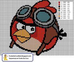 Angry Birds Cross Stitch Patterns | Angry birds - red bird aviator