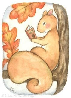 A Scholar ACEO - Carmen Medlin - watercolor squirrel in a tree reading a book on nuts - cute! Squirrel Illustration, Cute Illustration, Squirrel Art, Animal Books, Book Projects, Watercolor Animals, Art Portfolio, I Love Books, Animal Drawings