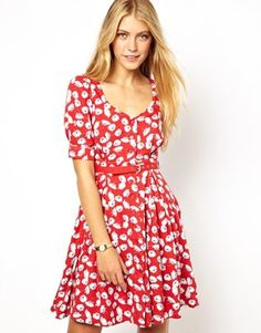 """Emily & Fin """"Dorothy Dress"""" in Poppy print (same as Modcloth """"Housewarming Hostess"""" dress, but different print), size large, LIMITED"""
