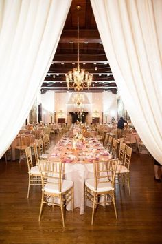 Elegant gold, white and pink wedding reception decor; Featured Photographer: Kristin La Voie Photography