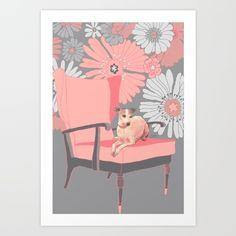Dog in a chair #3 Italian Greyhound Art Print