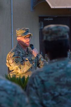Maj. Gen. Paul J. LaCamera, commanding general, Regional Command (South) and 4th Infantry Division, speaks to servicemembers and civilians in front of the RC(S) headquarters June 6, 2014. The speech was part of a ceremony remembering the sacrifices of 4th Inf. Div. Soldiers and others who assaulted the beaches of Normandy 70 years ago on their way to liberating France and the rest of Europe (U.S. Army photo by Sgt. 1st Class Brock Jones). 4th Infantry Division, Normandy Beach, Jon Snow, Army, Regional, Soldiers, Beaches, June, Rest