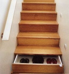 Stairs that are also drawers; space savers. #organize
