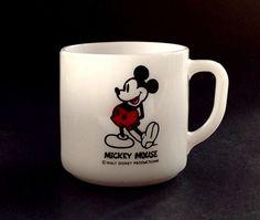 Vintage Milk Glass Mug - Mickey Mouse Milk Glass Mug - Federal Glass by VintageModernHip on Etsy