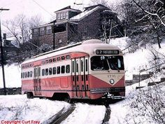 Pittsburgh PCC Trolleys | Another shot of a Pittsburgh streetcar showing off the tough terrain ...