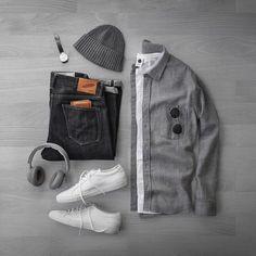 Shirt: Heavy Grey Flannel Beanie: Cashmere T-Shirt: Headphones: Denim: Slub SK Wallet: Shoes: Watch: Sunglasses: Gregory Peck Stylish Mens Outfits, Casual Outfits, Men Casual, Fashion Wear, Mens Fashion, Fashion Outfits, Polo Fashion, Urbane Mode, Mode Man