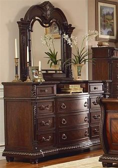 Palace Rich Brown Wood Marble Glass Dresser And Mirror