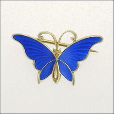 Silver Enamel Butterfly Brooch - GUSTAV GAUDERNACK - Norway