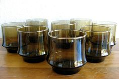 Vintage Smoked Glass Lowball Cocktail Glasses-Set of 8 by MarketHome