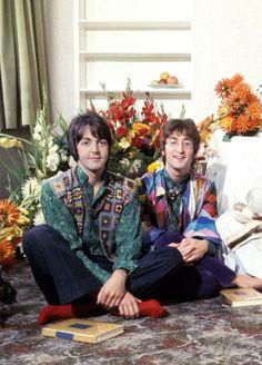 Beatles Paul and John during their spiritual meetings with Maharishi Mahesh Yogi