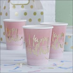 Pink & Gold Birthday Party Cups