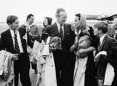David Niven at Copenhagen Airport with Family. August 5, 1958