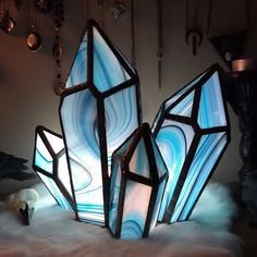 Excited to share this item from my shop: Pattern Crystal cluster Stained glass. Hand made craft decor by Sea Glass Art, Stained Glass Art, Fused Glass, Stained Glass Projects, Stained Glass Patterns, Mosaic Patterns, Art Patterns, Geometric Decor, Glass Terrarium