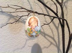 Easter Decoupage Goose Egg Ornament  by clotheslinecuties on Etsy