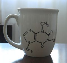 """Caffeine molecule Sharpie mug."" I AM SOOOOOO MAKING THIS!!!!!!!!!!!!!!!!!!!!"