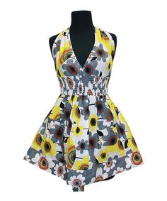 Take a look at this Yellow & Gray Bella Apron - Women on zulily today!