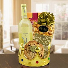 Royalty For A Day White Wine Gift Basket Birthday Gifts Happy
