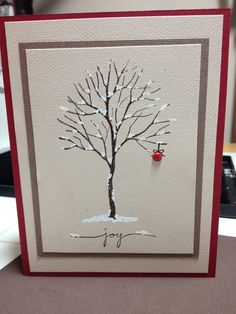 handmad winter/Christmas card ... leafless tree with snow nestling on the branches ... single ornament ... simply beautiful ... Stampin' Up!