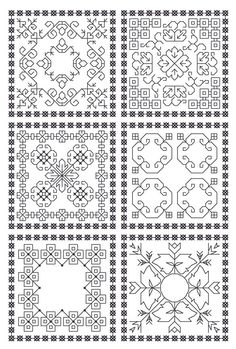 I love the look of blackwork embroidery. It& classic and graphic. Now if only I knew how to embroider. Blackwork Cross Stitch, Biscornu Cross Stitch, Blackwork Embroidery, Embroidery Thread, Cross Stitching, Cross Stitch Embroidery, Embroidery Patterns, Machine Embroidery, Embroidery Tattoo