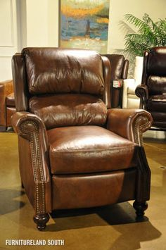 Bradington Young Bancroft Brown Leather 3 Way Lounger