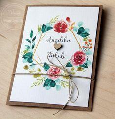 Zaproszenie ślubne eko z kwiatami i sznurkiem Save The Date, Wedding Ideas, Handmade, Decor, Invitations, Hand Made, Decoration, Decorating, Wedding Invitation