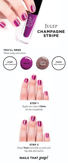 Beauty HOW TO: Julep Champagne Stripe #Sephora #Nailspotting #HowTo