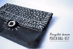 DIY Crafts with Old Denim Jeans - Recycled Denim Pouch Bag DIY  - Cool Projects and Fashion You Can Make With Old Jeans - Fun Crafts for Teens and Adults, Inexpensive Ones!