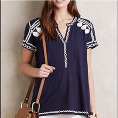 "Leaving Closet 6-15 Anthropologie Embroidered Top Embroidered Talla Top by Akemi + Kin Crisp and cool cotton for your go to summer top!  Embroidered detail Pullover styling, 25"" L and 19"" W underarm to underarm Anthropologie Tops Tees - Short Sleeve"