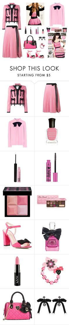 """""""Contest: Black & Pink Outfit With Bows"""" by billsacred ❤ liked on Polyvore featuring Moschino, Tome, Prada, Deborah Lippmann, NYX, Essence, Givenchy, Too Faced Cosmetics, Kate Spade and Juicy Couture"""