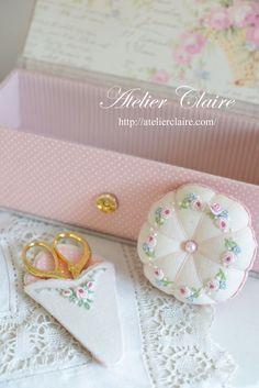 Rose pin cushion and scissor's holder