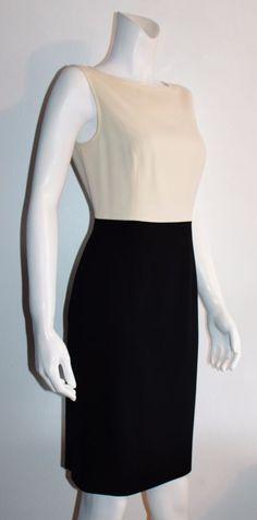ESCADA Stretch Beige Black Crew Neck Sleeveless Empire Waist Lined Dress Size 8 #ESCADA #EmpireWaist #WeartoWork