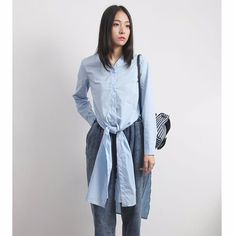 Baby Blue Knotted Shirt