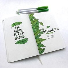 Green bullet journal spreads Are you looking for a specific color for your new monthly theme? How about some lush green! Amazing green bullet journal themes for you Bullet Journal Spreads, March Bullet Journal, Bullet Journal Layout, Bullet Journal Inspiration, Journal Ideas, Bullet Journal Leaves, Bullet Journal Quotes, The Journal, Journal Covers
