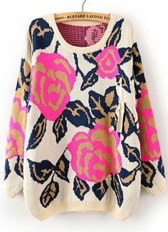 Rose Red Folwer Pattern Metallic Yoke Sweater US$33.11