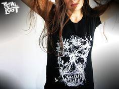 Skull tree - women t shirt. http://www.etsy.com/listing/88100183/t-shirt-skull-tree-white-black-goth