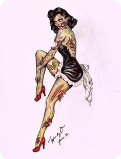 I pinned this as my group discussed the idea of zombie pin up in maid costumes. We all decided on a house scene with all different pin up characters playing a different role. We have also discussed possibly props such as feather dusters, vintage tea cups, a wallpaper drop back, a small table and rug etc. I would like my zombie to be lent/sat on a table stitching herself up whilst others are around cleaning the room. I think we came up with some really productive ideas.