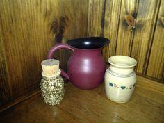 Little crocks and small metal pitcher. Alburtis. $1.50