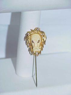 Vintage Jewelry Luca Luke Razza RARE Lion Head Stick Pin Figural Resin Brooch   eBay