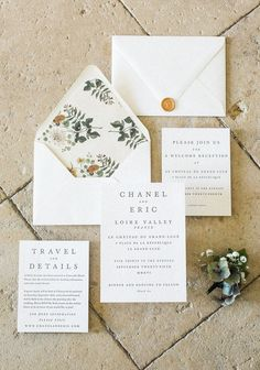 Our invitations came from Minted, believe it or not! This minimal letterpress design came on the most beautiful, heavy natural card stock, and we customized the invitations with different floral envelope liners, a cream satin ribbon that wrapped around the stack of cards, vintage stamps, and a gold wax seal.