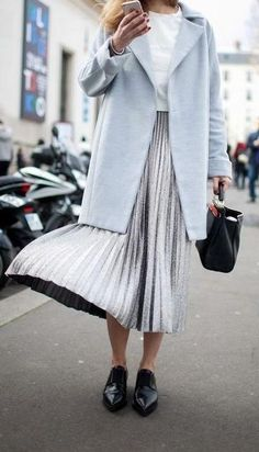 silver + baby blue. pleated skirt. street style.