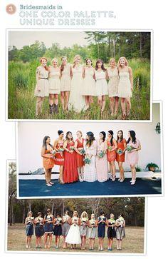Bridesmaids Dresses - same color palette, different dresses!