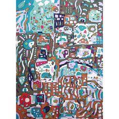 午後2時のスケッチ(2012) #art #batik #fabric #dyeing #textiles #illustration #illustgram #handmade #painting #kawaii #sunshade #umbrella #artwork #アート #染色 #ろうけつ染め #イラスト #日傘