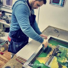 We spent the day in the studio working on new screen prints.  Adrian+Shane #adrianandshane #artiststudio