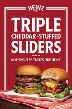 family chef with Triple Cheddar-Stuffed Sliders! Classic stuffed sliders are perfect for family cookouts. Slide into the position of Slider Recipes, Burger Recipes, Seafood Recipes, Mexican Food Recipes, Beef Recipes, Cooking Recipes, Ethnic Recipes, Jamaica Recipes, Jamaica Food
