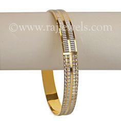 Two-tone Cuff Bracelet | Stylish men's cuff bracelet, also known as Punjabi Kada in 22k two-tone gold (rhodium finish).  Opening on side for easy wearability.  https://www.rajjewels.com/punjabi-kada-twotone-gold-cuff.html#sthash.omTi4o4x.dpuf