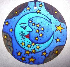 BLUE MOON, Stars and Clouds, Glasspainting Lightcatcher